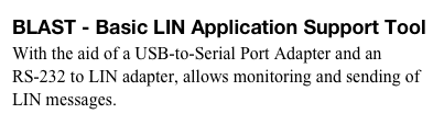 BLAST - Basic LIN Application Support Tool 